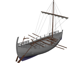 Kyrenia Ancient Greek Merchant Ship 3D Model