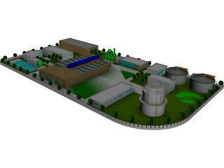 Petroleum Plant Refinery 3D Model