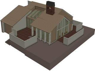 House One Story 3D Model