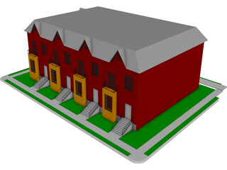 St. Louis-style Homes or Apartments 3D Model