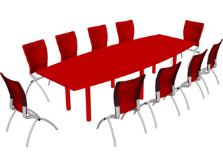 Knoll Conference Table and Chairs 3D Model