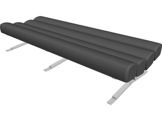 Bench Daybed 4 Roll 3D Model