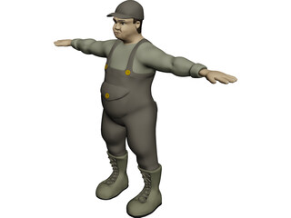 Fat Worker 3D Model 3D Preview