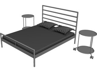 IKEA Heimdal Bed and Sidetable 3D Model