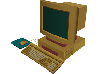 Computer Desktop with Mouse 3D Model