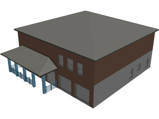 Two Story Home 3D Model 3D Preview