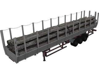 Logging Truck Trailer 3D Model