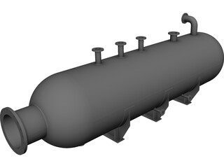 Cylindrical gas pressure vessel CAD 3D Model