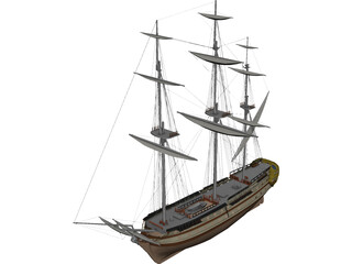 Glorieux French Ship 3D Model