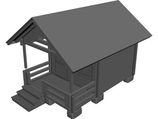 Log Cabin CAD 3D Model