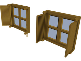 Double Shutter Window 3D Model