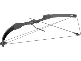 Drawn Hunting Bow CAD 3D Model