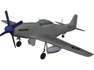 North American Mustang MP51D 3D Model 3D Preview