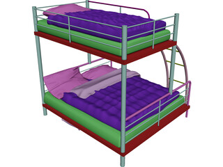 Double Bunk Bed 3D Model