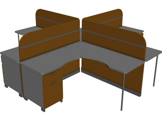 Four People Island Office Desk 3D Model