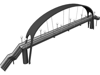 Suspension Arch Walkway Bridge 3D Model