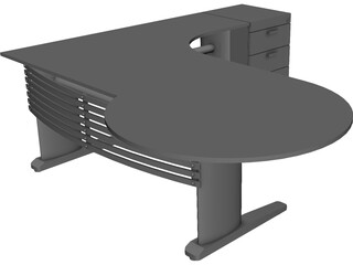 Desk with Extention 3D Model