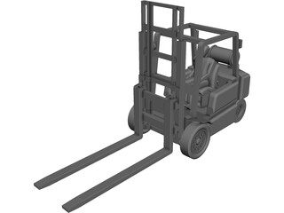 Forklift YALE with Operator CAD 3D Model