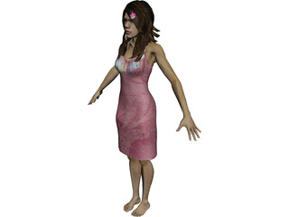 Girl Hawaienne 3D Model 3D Preview