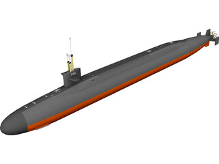 Ohio SSBN Nuclear Ballistic Missile Submarine 3D Model 3D Preview