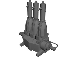 Nitrogen Triplex Pump CAD 3D Model