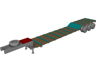 Goose Neck Lowboy Trailer 53 foot 3D Model