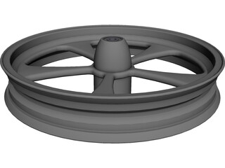 Harley Front Wheel 5 spoke CAD 3D Model