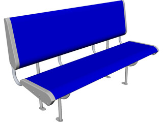 Polycarbonate Train Seat CAD 3D Model