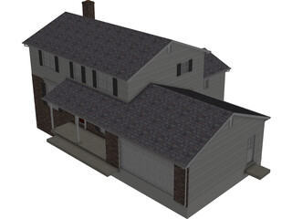 House 2-Story Suburban Colonial 3D Model