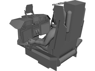 Fighter Cockpit with Seat 3D Model