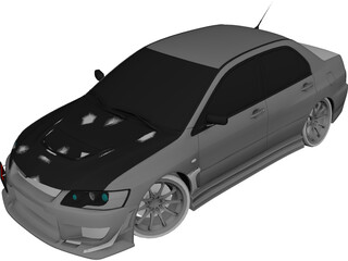 Mitsubishi Lancer Evo IX C-West Style 3D Model 3D Preview
