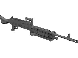 M240 Machine Gun CAD 3D Model