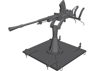 Type-96 Single AA-Gun 3D Model