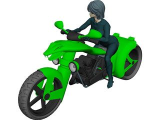 Lady Snake Moto 3D Model 3D Preview
