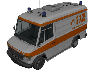 Mercedes-Benz Vario 614D German Ambulance 3D Model