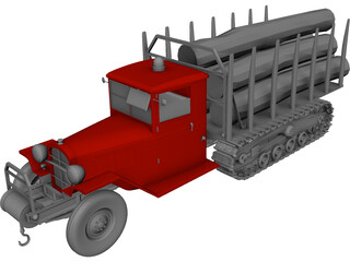 Truck Wood Chenille 3D Model 3D Preview