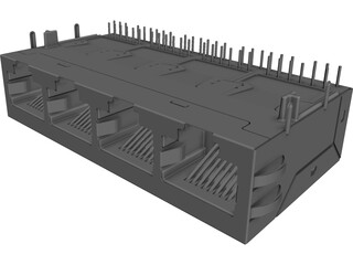 RJ-45 Connector 1x4 CAD 3D Model