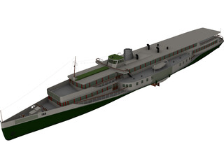 Rheundampfer Goethe Steam Ship 3D Model