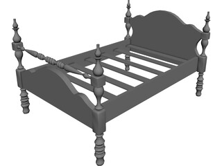Bed Single Low Post 3D Model