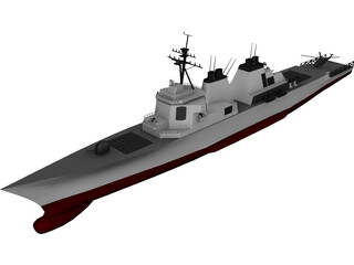DDG-51 Arleigh Burke Class Destroyer 3D Model 3D Preview