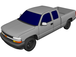 Chevrolet Silverado Extended Cab (2000) 3D Model 3D Preview