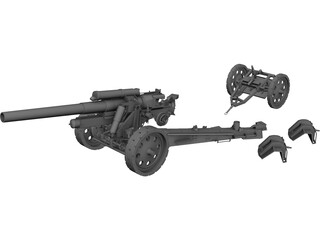 SFH-18 Military Cannon 3D Model 3D Preview