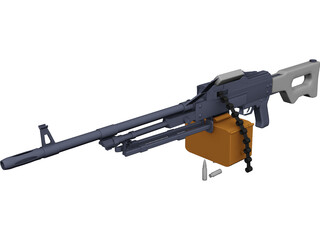 Kalashnikov Hand Machinegun 3D Model