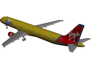 Airbus A321 Virgin Sun 3D Model