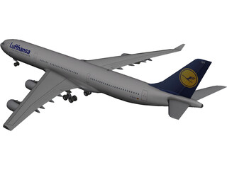 Airbus A340-300 Lufthansa 3D Model 3D Preview
