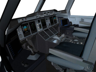 Airbus A380-800 Cockpit 3D Model 3D Preview