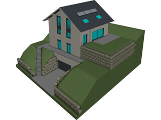 Detached House CAD 3D Model