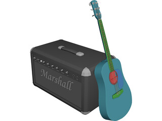 Guitar and Amp Marshall 3D Model
