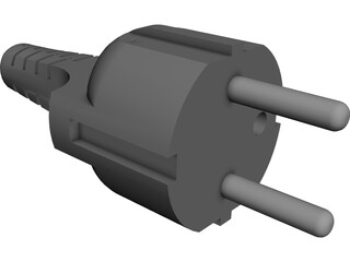 European Electrical Plug CAD 3D Model