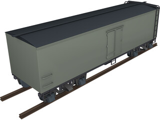 Canadian Box Baggage Car 3D Model